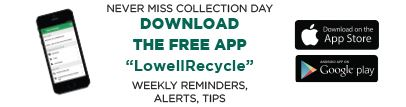 Image of an advertisement for the free LowellRecycle Application