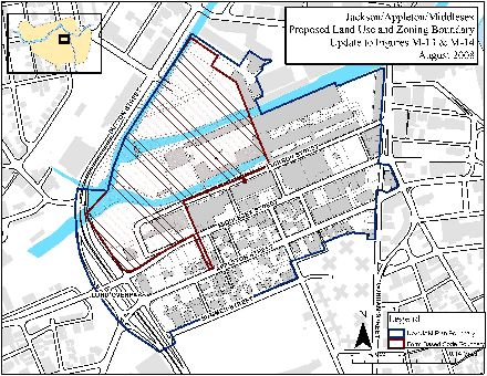 A map showing the Jackson/Appleton/Middlesex (JAM) Urban Renewal Plan