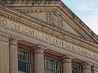 Exterior shot of Lowell Five Cent Savings Bank