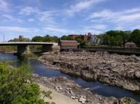 Pawtucket Falls scenery with stream and rocks
